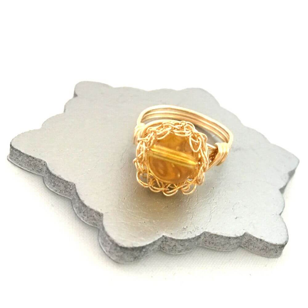 Gold Citrine Case Ring