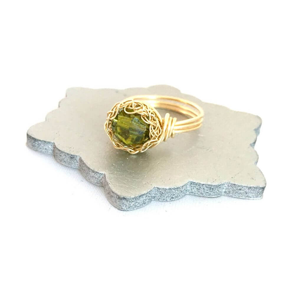 Gold Olive Crystal Case Ring