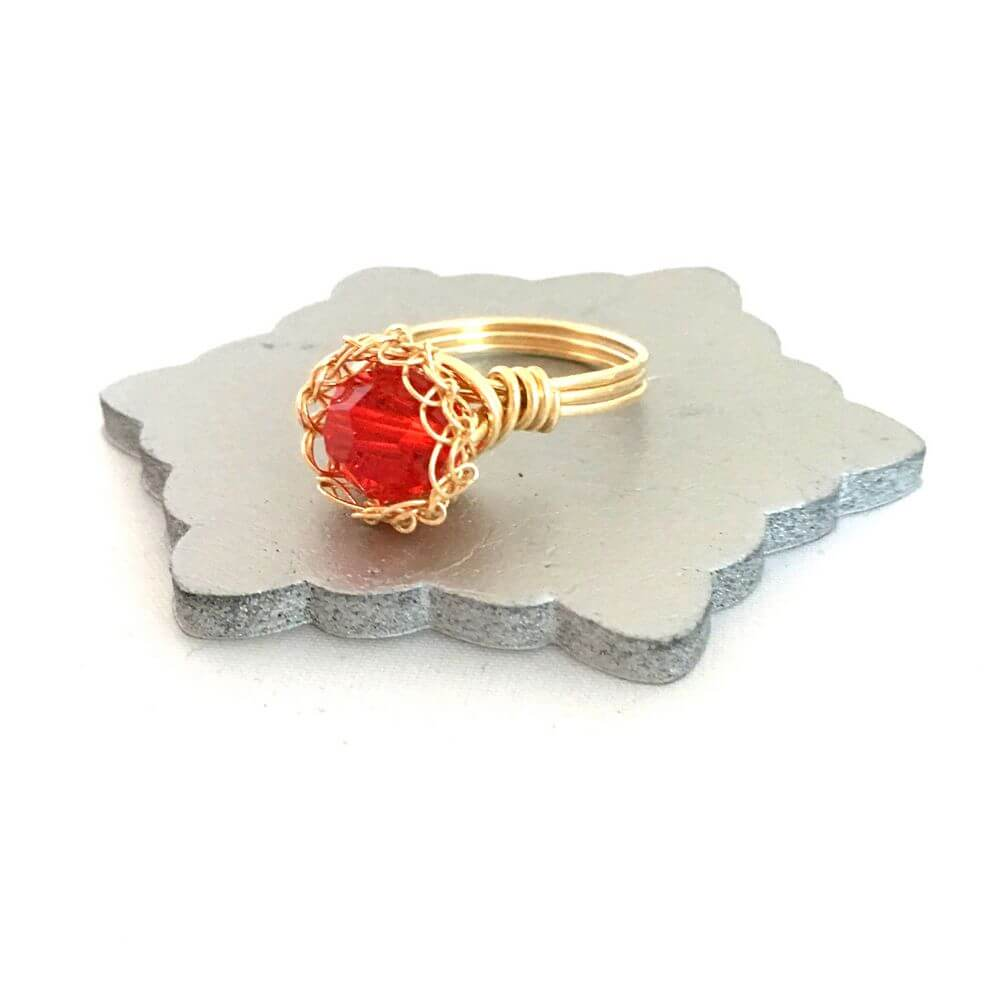 Gold Red Crystal Case Ring