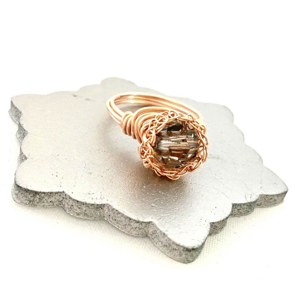 Rose Black Crystal Case Ring