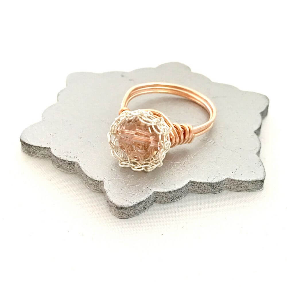 Rose Silver Crystal Case Ring