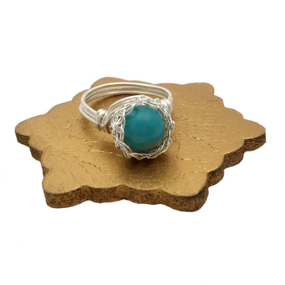 Silver Turquoise Case Ring