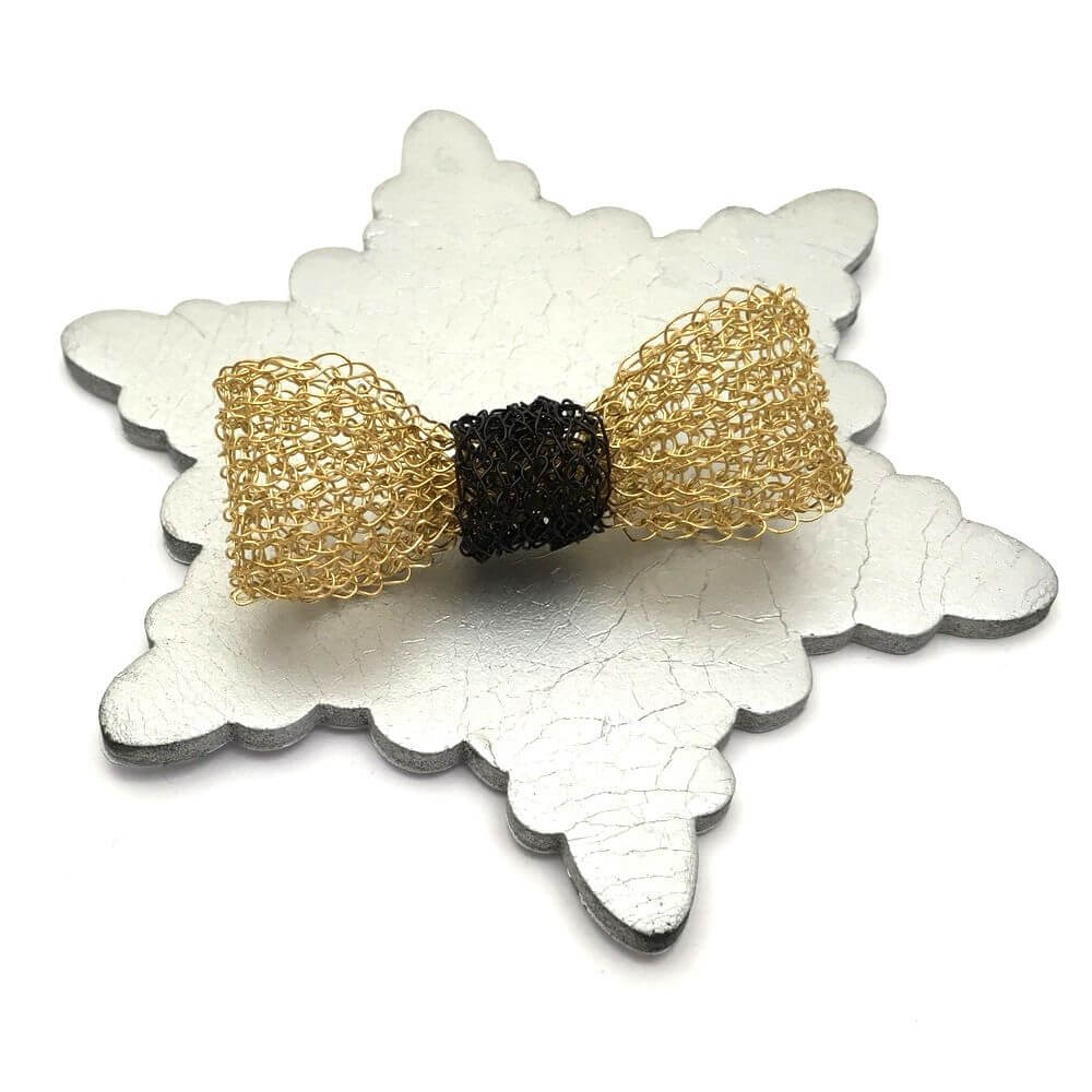 Gold Black Bow Brooch