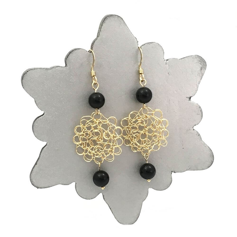 Gold Onyx Cosmo Earrings