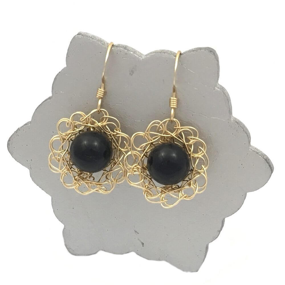 Gold Onyx Flower Earrings
