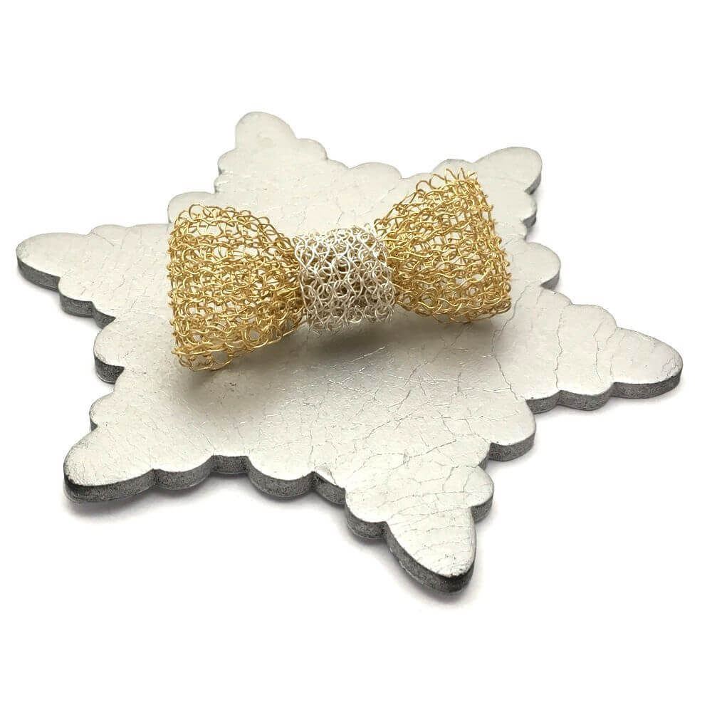 Gold and Silver Bow Brooch