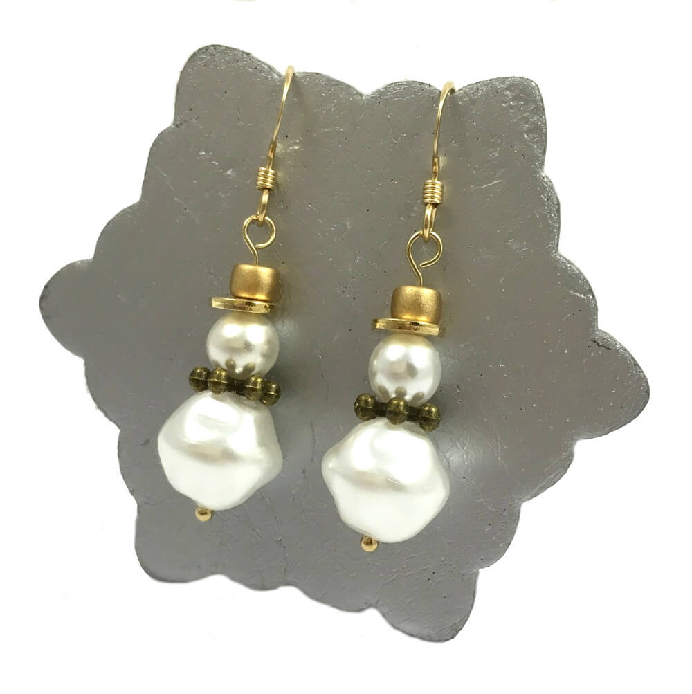 Gold Snowman Earrings
