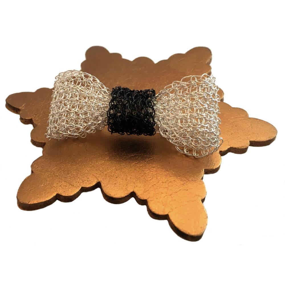 Silver Black Bow Brooch