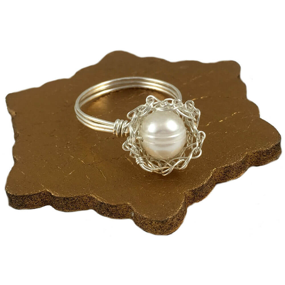 Silver Pearl Case Ring