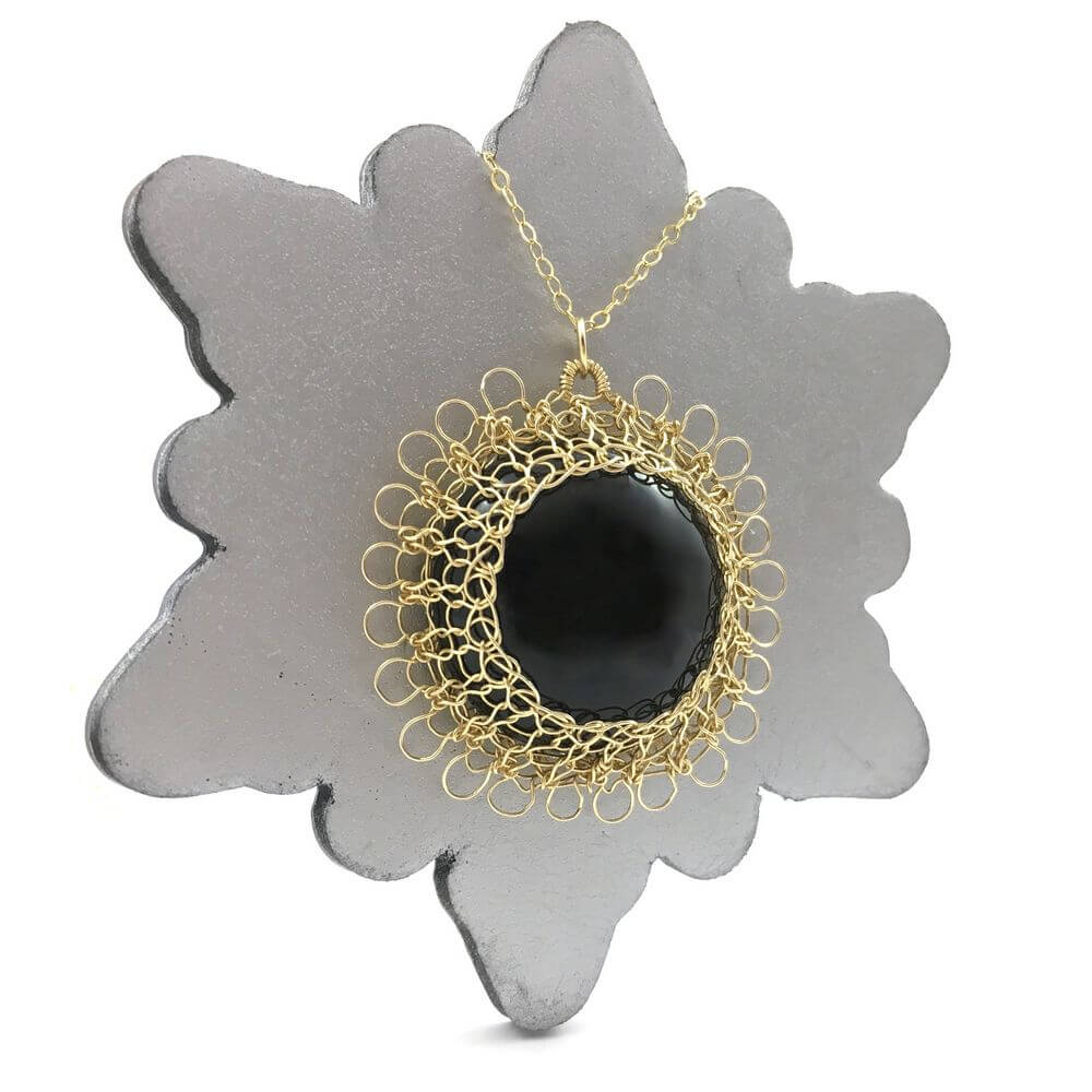 Gold Onyx Sun Necklace
