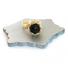 Gold Onyx Case Ring