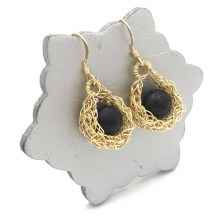 Gold Onyx Drop Earrings