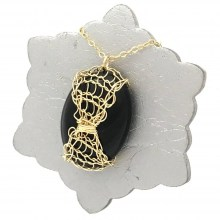 Gold Onyx Lattice Necklace