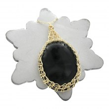 Gold Onyx Oval Necklace