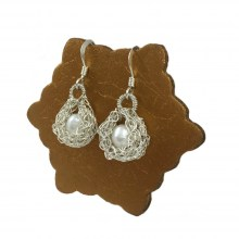 Silver Pearl Cule Earrings