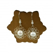 Silver Pearl Flower Earrings