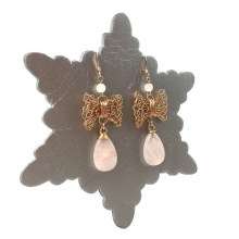 Rose Quartz Bow Earrings