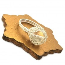 Silver Crystal Quartz Case Ring