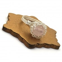 Silver Rose Quartz Case Ring