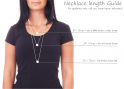 Silver Teal Crystal Necklace length guide