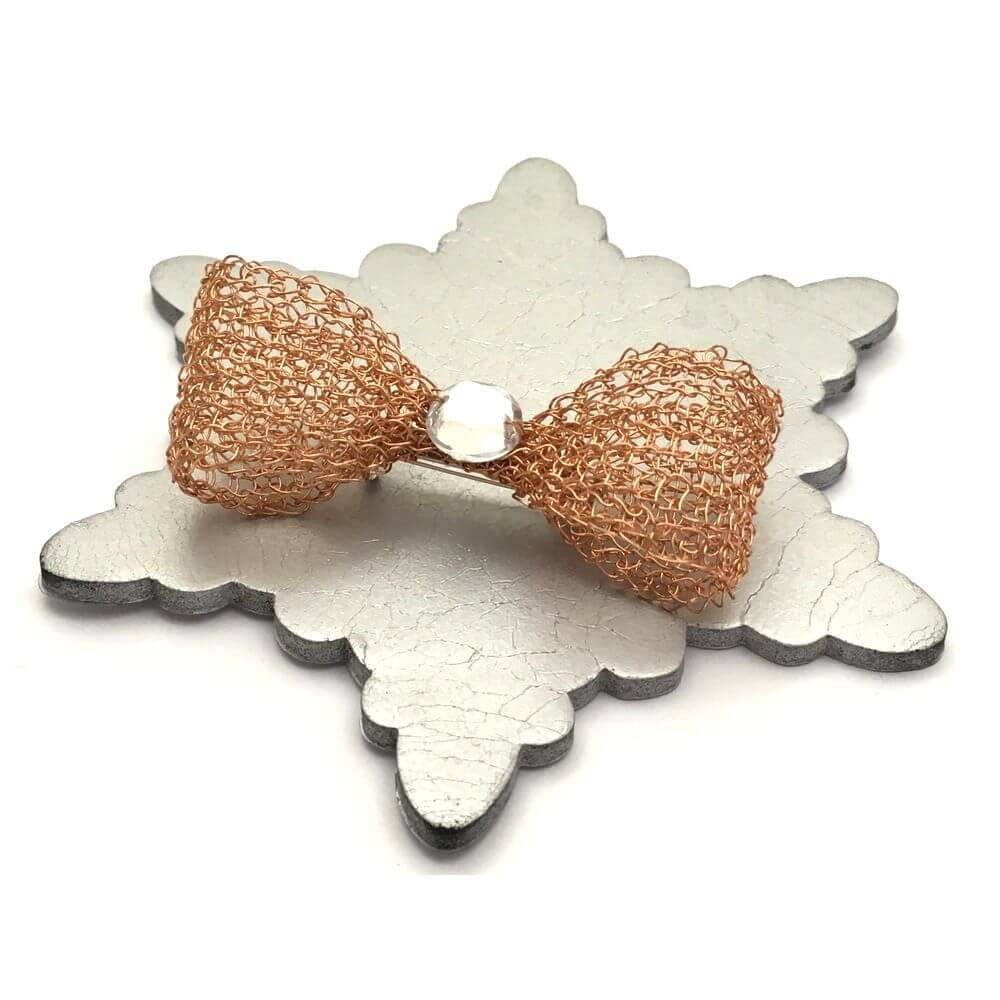 Rose Gold Crystal Bow Brooch