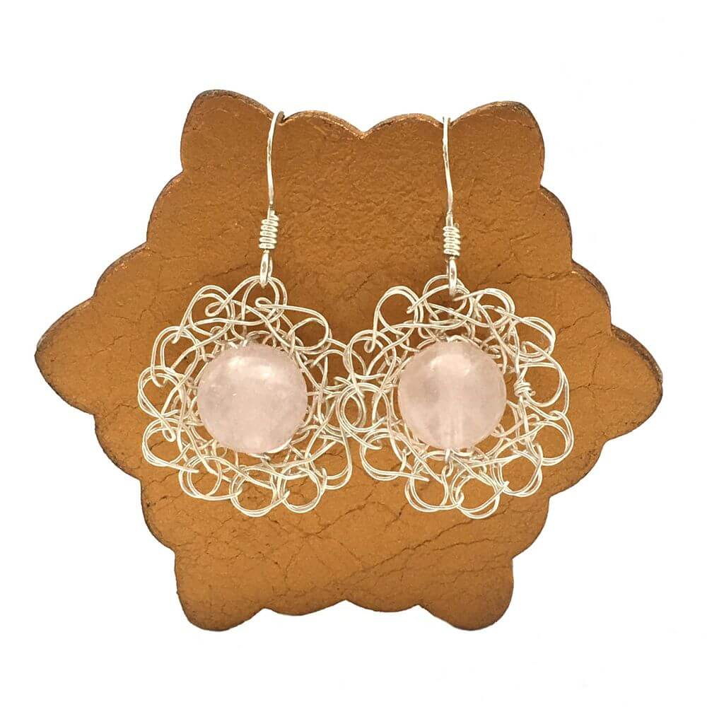 Silver Rose Quartz Flower Earrings